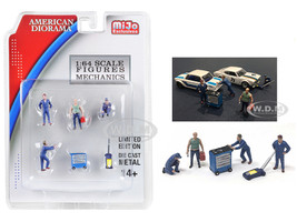 Mechanics 6 piece Diecast Set 4 Figurines 2 Accessories for 1/64 Scale Models American Diorama 38400