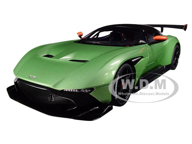 Aston Martin Vulcan Apple Tree Green Metallic Orange Accents Carbon Top 1/18 Model Car Autoart 70263