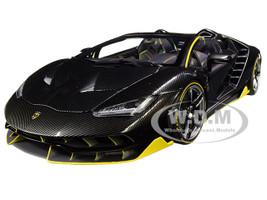 Lamborghini Centenario Roadster Clear Carbon Yellow Accents 1/18 Model Car Autoart 79119