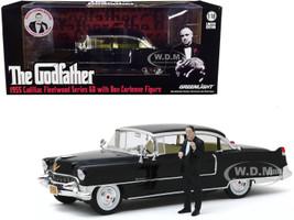 1955 Cadillac Fleetwood Series 60 Black Don Corleone Figure The Godfather 1972 Movie 1/18 Diecast Model Car Greenlight 13531