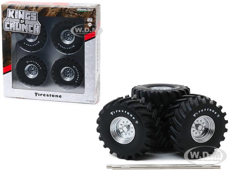 48-Inch Monster Truck Firestone Wheels & Tires 6 piece Set Kings of Crunch 1/18 Greenlight 13546