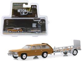 1977 Pontiac LeMans Safari Gold and Utility Trailer Hitch & Tow Series 18 1/64 Diecast Model Car Greenlight 32180 A