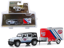 2015 Jeep Wrangler Unlimited STP White Black Top and STP Small Cargo Trailer Hitch & Tow Series 18 1/64 Diecast Model Car Greenlight 32180 B