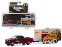 2017 Ford F-150 4x4 Pickup Truck Red Indian Motorcycle and Indian Motorcycle Enclosed Car Hauler Hitch & Tow Series 18 1/64 Diecast Model Car Greenlight 32180 C