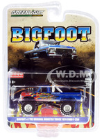 1974 Ford F-250 Monster Truck Bigfoot #1 The Original Blue with Flames Limited Edition 4600 pieces Worldwide 1/64 Diecast Model Car Greenlight 51282