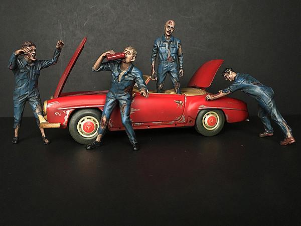 Zombie Mechanics 4 Piece Figurine Set Got Zombies?? for 1/18 Scale Models American Diorama 38197 38198 38199 38200