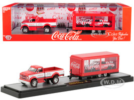 1970 Chevrolet C60 Pickup Truck Coke Red White Trailer 1968 Chevrolet Camaro SS 350 Coke Red Black Hood Coca Cola Set Limited Edition 5880 pieces Worldwide 1/64 Diecast Models M2 Machines 56000-TW01