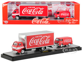 1969 Dodge L600 COE Truck Coke Red White Stripe 1964 Dodge A100 Van Coke Red Coca Cola Set Limited Edition 5880 pieces Worldwide 1/64 Diecast Models M2 Machines 56000-TW01
