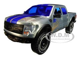 2011 Ford F-150 SVT Raptor Pickup Truck Raw Metal Blue Stripes Dirty Version Just Trucks Jada 20th Anniversary 1/24 Diecast Model Car Jada 31086