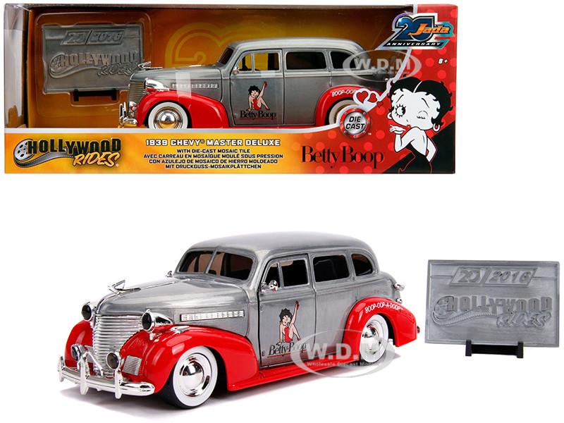 1939 Chevrolet Master Deluxe Raw Metal Red Betty Boop Hollywood Rides Jada 20th Anniversary 1/24 Diecast Model Car Jada 31091
