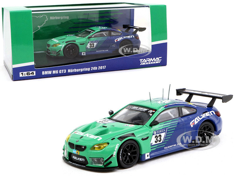 BMW M6 GT3 #33 P Dumbreck M Seefried A Imperatori S Dusseldorp Falken Tire Nurburgring 24 Hours 2017 1/64 Diecast Model Car Tarmac Works T64-020-17NUR33
