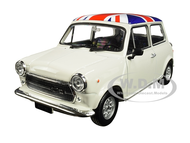 Mini Cooper Models >> Mini Cooper 1300 White With British Flag On The Roof 1 24 1 27 Diecast Model Car By Welly