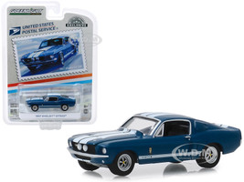 1967 Ford Mustang Shelby GT500 Dark Blue White Stripes USPS Stamps 2013 United States Postal Service America on the Move Muscle Cars Hobby Exclusive 1/64 Diecast Model Car Greenlight 30067