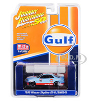 1999 Nissan Skyline GT-R BNR34 Gulf Oil Johnny Lightning 50th Anniversary Limited Edition 3600 pieces Worldwide 1/64 Diecast Model Car Johnny Lightning JLCP7237