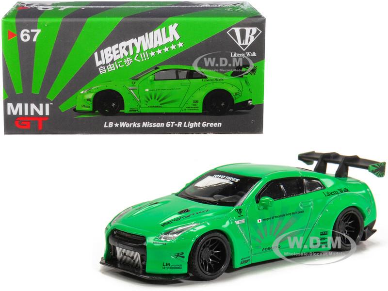 Nissan GT-R R35 Type 1 LB Works LibertyWalk Light Green Rear Wing Hobbiestock Exclusive 1/64 Diecast Model Car True Scale Miniatures MGT00067