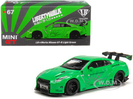 Nissan GT-R R35 Type 1 LB Works LibertyWalk Light Green Rear Wing Hobbiestock Exclusive 1/64 Diecast Model Car True Scale Miniatures MGT00067