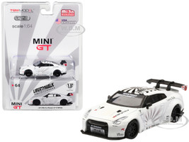 Nissan GT-R R35 Type 1 LB Works LibertyWalk White Rear Wing Limited Edition 4800 pieces Worldwide 1/64 Diecast Model Car True Scale Miniatures MGT00064