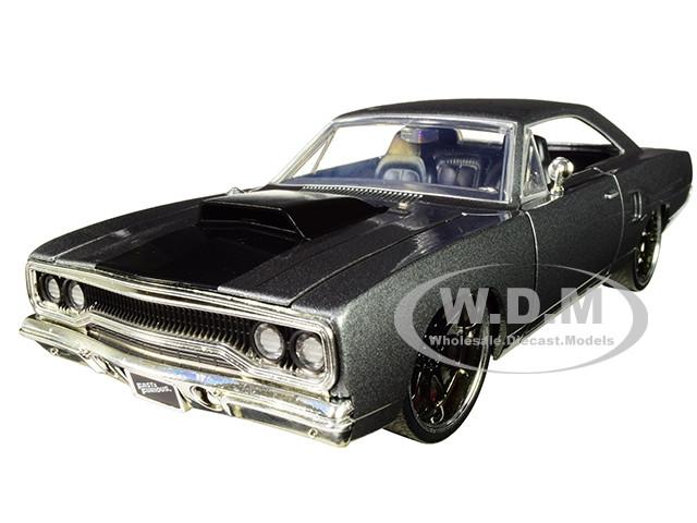 Dom's Plymouth Road Runner Metallic Gray Black Hood Stripe Fast & Furious Movie 1/24 Diecast Model Car Jada 30745