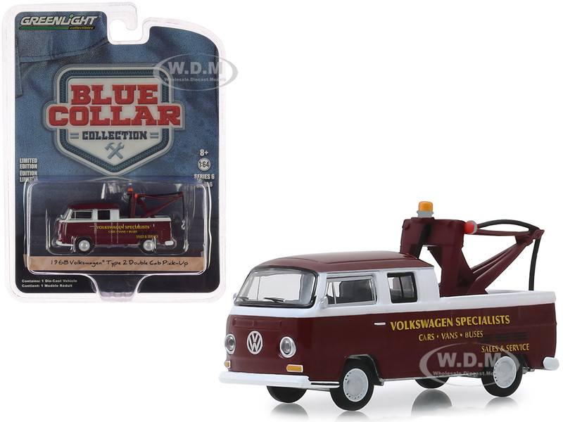 1968 Volkswagen Type 2 Double Cab Tow Truck Doka Drop in Tow Hook Metallic Burgundy Volkswagen Specialists Blue Collar Collection Series 6 1/64 Diecast Model Car Greenlight 35140 A