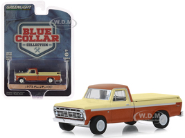 1973 Ford F-100 Pickup Truck Bed Cover Metallic Orange Cream Blue Collar Collection Series 6 1/64 Diecast Model Car Greenlight 35140 B
