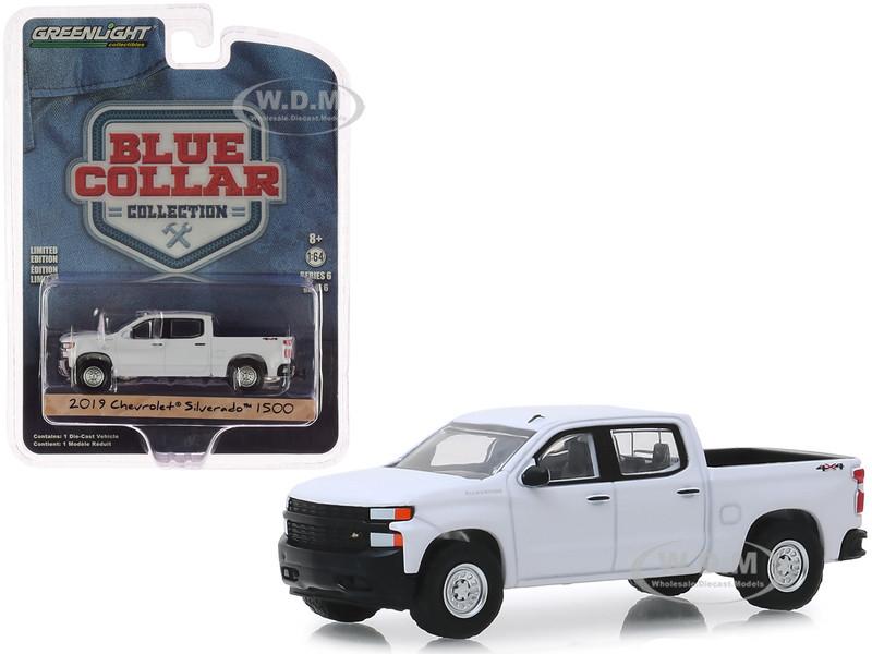 2019 Chevrolet Silverado 1500 Pickup Truck White Blue Collar Collection Series 6 1/64 Diecast Model Car Greenlight 35140 F