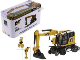 CAT Caterpillar M323F Railroad Wheeled Excavator 3 Accessories High Line Series 1/87 HO Scale Diecast Model Diecast Masters 85612