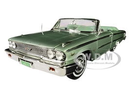 1963 Ford Galaxie 500 XL Open Convertible Silver Moss Green 1/18 Diecast Model Car Sunstar 1455