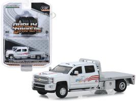 2018 Chevrolet Silverado 3500 Flatbed Truck USA-1 White Dually Drivers Series 2 1/64 Diecast Model Car Greenlight 46020 B