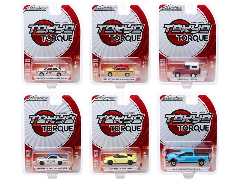 Tokyo Torque Series 7 Set of 6 pieces 1/64 Diecast Model Cars Greenlight 47050