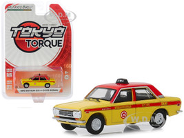 1970 Datsun 510 4-Door Sedan Custom Nihon Kotsu Taxi Yellow Red Tokyo Torque Series 7 1/64 Diecast Model Car Greenlight 47050 B