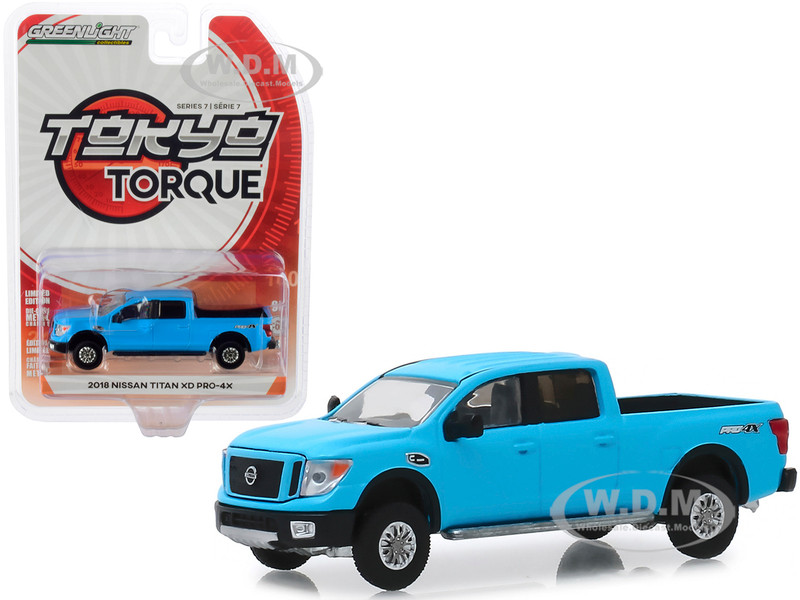 2018 Nissan Titan XD Pro-4X Pickup Truck Matt Light Blue Tokyo Torque Series 7 1/64 Diecast Model Car Greenlight 47050 F