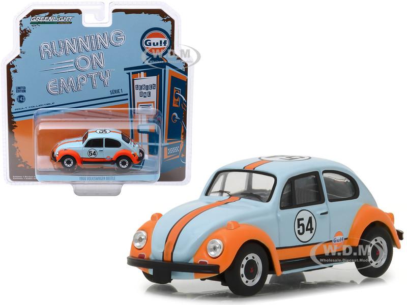 1966 Volkswagen Beetle #54 Gulf Oil Light Blue Orange Running on Empty Release 1 1/43 Diecast Model Car Greenlight 87010 D