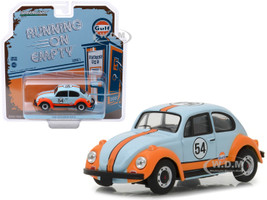 1966 Volkswagen Beetle #54 Gulf Oil Light Blue Orange Running on Empty Release 1 1/43 Diecast Model Car Greenlight 87010 D