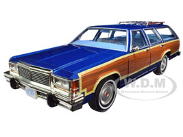 1979 Ford LTD Country Squire Midnight Blue Wood Grain Paneling 1/18 Diecast Model Car Greenlight 19063