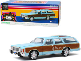 1979 Ford LTD Country Squire Light Blue Wood Grain Paneling Charlie's Angels 1976 1981 TV Series 1/18 Diecast Model Car Greenlight 19066