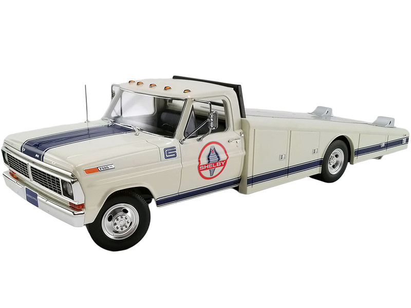 1970 Ford F-350 Ramp Truck Shelby White Blue Stripes 1/18 Diecast Model Car ACME A1801404