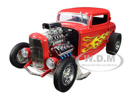 1932 Ford Blown 3 Window Hot Rod Flamethrower Red with Flames Limited Edition 522 pieces Worldwide 1/18 Diecast Model Car ACME A1805016