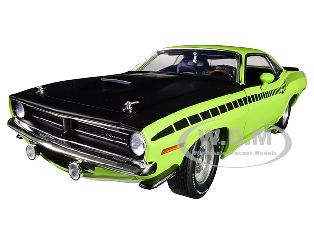 1970 Plymouth Barracuda AAR Sublime Green Matt Black Hood Limited Edition 540 pieces Worldwide 1/18 Diecast Model Car ACME A1806113