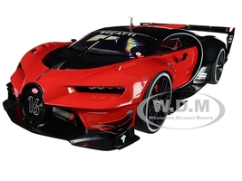 Bugatti Vision Gran Turismo 16 Italian Red Black Carbon 1/18 Model Car Autoart 70988