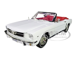 1964 1/2 Ford Mustang Convertible White Red Interior Platinum Collection 1/18 Diecast Model Car Motormax 79991 73145
