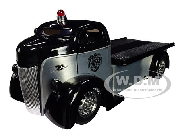 1947 Ford COE Flatbed Tow Truck Raw Metal Black Heat Jada 20th Anniversary 1/24 Diecast Model Car Jada 31072