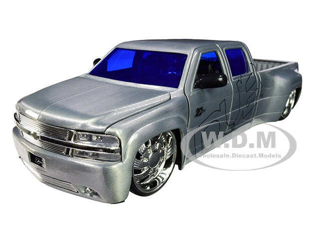 1999 Chevrolet Silverado Dooley Pickup Truck Raw Metal Dub City Jada 20th Anniversary 1/24 Diecast Model Car Jada 31077
