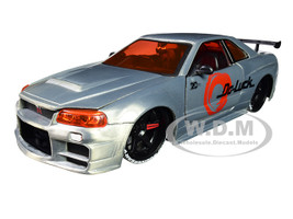 2002 Nissan Skyline GT-R BNR34 Raw Metal JDM Tuners Jada 20th Anniversary 1/24 Diecast Model Car Jada 31085