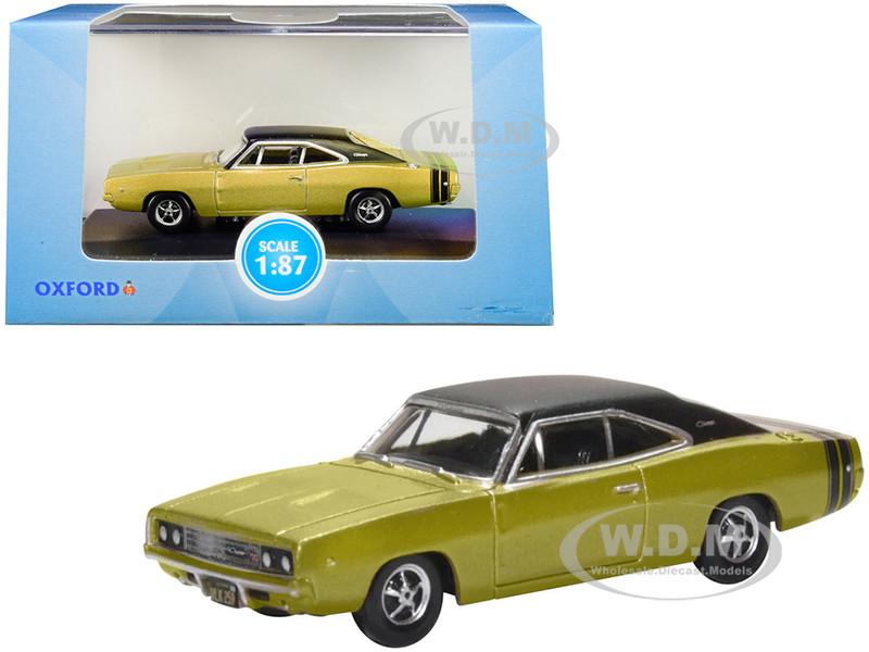 1968 Dodge Charger Gold Black Top Black Stripes 1/87 HO Scale Diecast Model Car Oxford Diecast 87DC68002