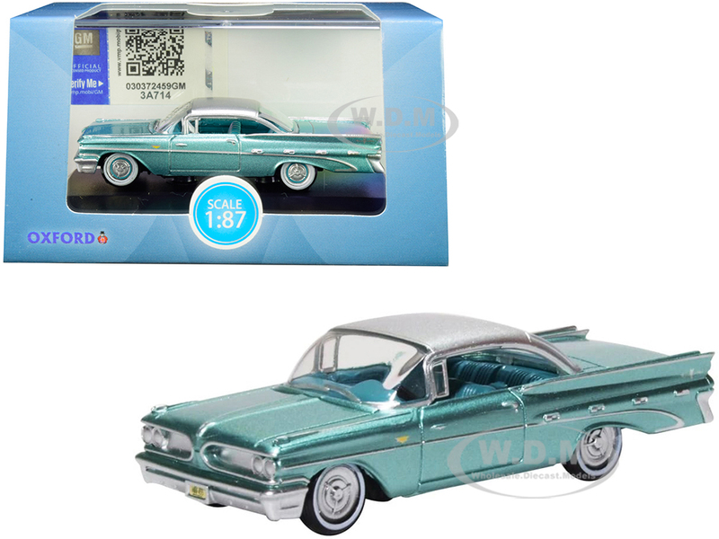 1959 Pontiac Bonneville Coupe Seaspray Green Silver Top 1/87 HO Scale Diecast Model Car Oxford Diecast 87PB59003