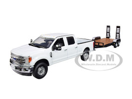 Ford F-250 Crew Cab Super Duty Pickup Truck White Tandem Axle Tag Trailer Black 1/50 Diecast Model Car First Gear 50-3418