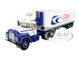 Mack R Day Cab 40' Vintage Reefer Refrigerated Tri-Axle Trailer RFL Refrigerated Freight Lines Ltd 31th in a Fallen Flag Series 1/64 Diecast Model DCP First Gear 60-0632