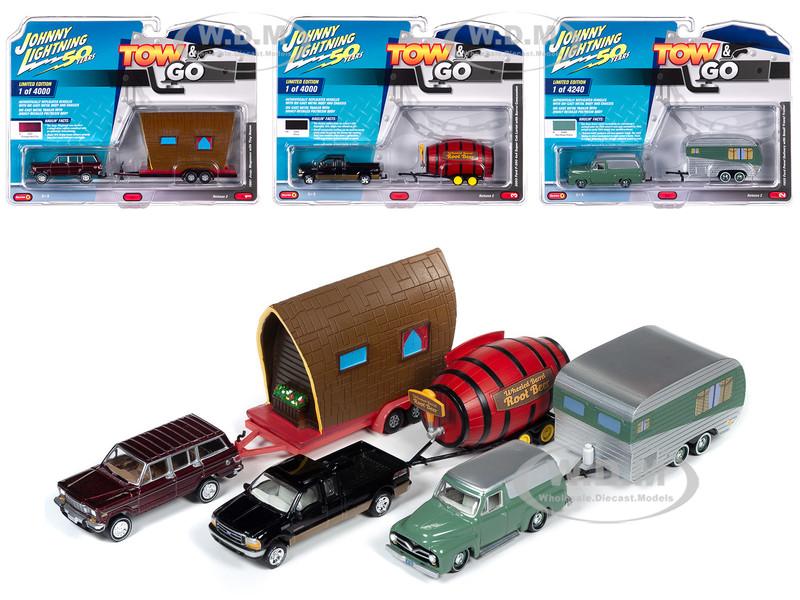Tow & Go Series 2 Set B of 3 Cars Johnny Lightning 50 Years 1/64 Diecast Model Cars Johnny Lightning JLTG002 B