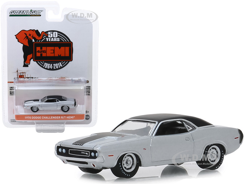 1970 Dodge Challenger R/T HEMI Silver Black Top Black Stripes 426 HEMI 50 Years 1964 2014 Anniversary Collection Series 9 1/64 Diecast Model Car Greenlight 28000 B
