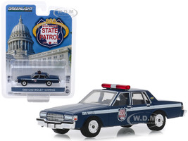 1989 Chevrolet Caprice Police Car Dark Blue Wisconsin State Patrol 80th Anniversary 1939 2019 Anniversary Collection Series 9 1/64 Diecast Model Car Greenlight 28000 D
